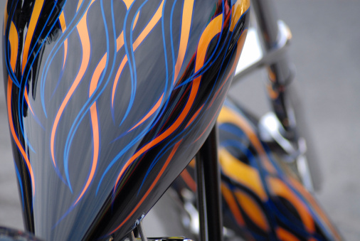 Motorcycle With Custom Fiery Paint Job